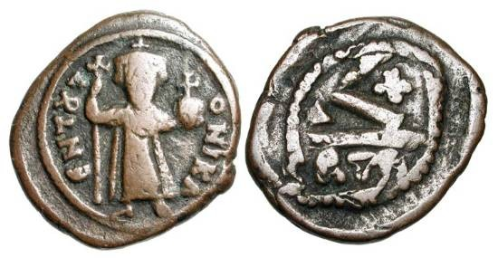 Ancient Coins - BYZANTINE EMPIRE.  Constans II, 641-668 AD.  Æ Half Follis (7.51 gm) of Carthage.  Emperor standing holding long cross and globe / Large K.  S.1056.  aVF, brown patina.  Scarce.