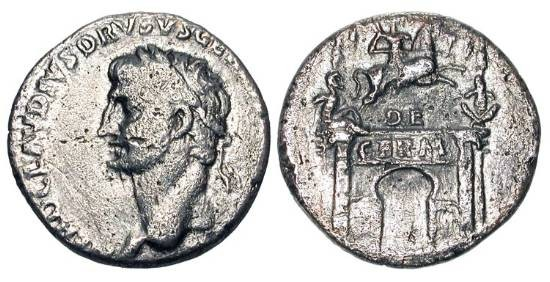 Ancient Coins - NERO CLAUDIUS DRUSUS, father of Caligula, struck under Claudius, 41-42 AD.  AR Denarius(3.44gm).  Laureate head left / Triumphal arch.  RSC.2.  Toned VF.  Rare.
