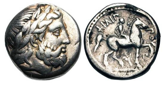 Ancient Coins - MACEDONIAN KINGDOM.  Philip II, 359-336 BC.  AR Tetradrachm (14.10 gm) of Amphipolis.  Laureate head of Zeus / Youth riding prancing horse which he crowns. LeRider.pl.46,11.   …