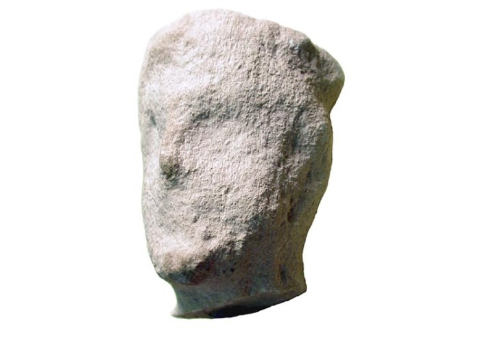"Ancient Coins - Limestone Male Head.  Cypro-Archaic, VII-VI Century BC.  Head with roughly-indicated features and short beard.  3.5"" high."