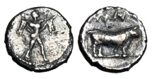 Ancient Coins - LUCANIA, Poseidonia.  480-400 BC.  AR Diobol.  ex. Neubecker collection.