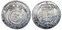 World Coins - DENMARK.  Christian V, 1670-1699 AD.  AR Krone or 4 Mark