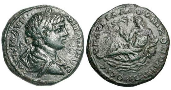 Ancient Coins - MOESIA INFERIOR, Nikopolis ad Istrum.  Caracalla, 198-217 AD.  Æ26.  Laureate bust / River-god reclining leaning on a vase from which water flows.  Pick.1553.  Var.3054.