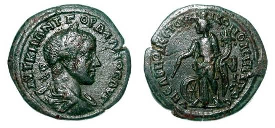 Ancient Coins - MOESIA INFERIOR, Nikopolis ad Istrum.  Gordian III, 238-244 AD.  Æ26.  Laureate bust  / Nemesis standing, holding cornucopia and staff.  Pick.2080.  VF, dark green patina.