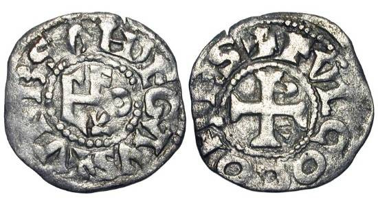 World Coins - FRANCE, Anjou.  Fulk V and Geoffery Plantaganet, 1109-1129-1151 AD.  AR Denier of Angers.  Cross with alpha and omega / FVLCO monogram.  Rob.4115.  B.155. D.376.