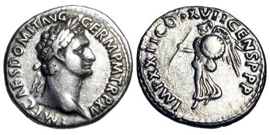 Ancient Coins - DOMITIAN,  81-96 AD.  AR Denarius (3.16 gm) of Rome, 95-96 AD.  Laureate head  / Minerva as Victory flying holding javelin and shield.  RIC.194v.  Toned VF+.  Rare