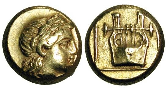 Ancient Coins - LESBOS, Mytilene.  521-478 BC.  Electrum Hekte (2.56 gm).  Head of Apollo / Lyre in outlined square.  Bod.94.  VF+.