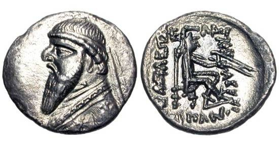 Ancient Coins - PARTHIAN KINGDOM.  Mithradates II, 123-88 BC.  AR Drachm (3.77 gm).  Diademed draped bust / Archer seated holding bow and arrow.  Sh.77.  Toned VF+.