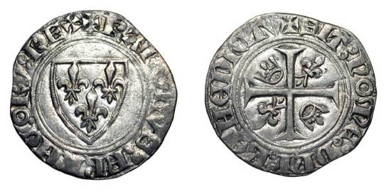 World Coins - FRANCE.  Charles VI the Mad, 1380-1422 AD.  AR Blanc Guénar (2.81 gm) of Dijon (pt 13), 2nd emission.  Shield of arms / Cross with two crowns and two lis.  DuP.377a.   Toned aXF.