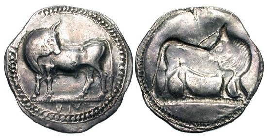 Ancient Coins - LUCANIA, Sybaris.  530-510 BC.  AR Stater (8.05 gm).  Bull standing, head reverted / Incuse of same.  SNG.ANS.832.  Toned VF+, good metal.
