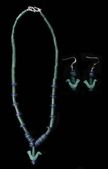 "Ancient Coins - Jadeite Bead Necklace plus matching Earrings.  Middle East.  Greenstone bead necklace ca II-I Mil. BC.  19"" restrung with modern sterling silver clasp.    Outstanding.  …"