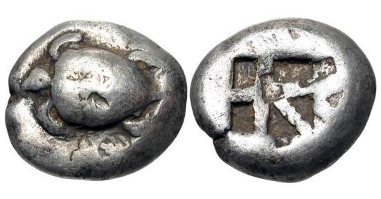 "Ancient Coins - AEGINA.  480-456 BC.  AR Stater (11.92 gm).  Sea turtle / Incuse square of ""skew"" pattern.  SNG.Cop.503.  Toned VF, countermarks."