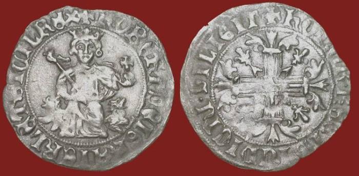 World Coins - FRANCE.  Philippe III, the Bold, 1270-1285 AD.  AR Gros Tournois.  Cross / Châtel tournois.  Scarce.