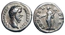 Ancient Coins - AELIUS, 136-138 AD.  AR Denarius (3.32 gm).  Bare head / Concordia standing, holding patera and cornucopiae.  RIC.428(S).     RSC.14b.  Toned VF.  Scarce.