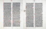 World Coins - Vellum Folio Bible Page. France, ca. 1250 AD, Abbey of St Genievieve in Paris. Latin in two columns on both sides; capitals R, R, R in bue and red with borders. I Samuel XX-XXIIII…