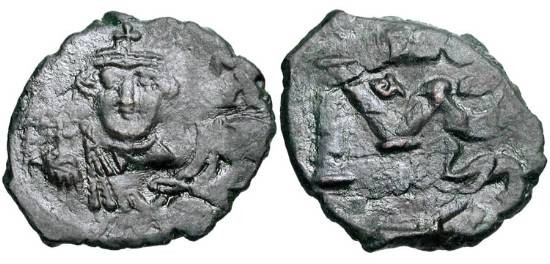 Ancient Coins - BYZANTINE EMPIRE.  Constans II, 641-668 AD.  Æ Follis (5.14 gm) of Syracuse.  Crowned bust facing / Large M.  S.1104.  VF, black patina.