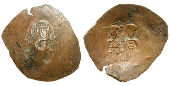 Ancient Coins - EMPIRE of NICAEA.  Theodore I, 1208-1222 AD.  Æ Trachy of Nicaea.  The Virgin enthroned facing / Theodore and St. Theodore standing facing.  S.2061.  Crude VF, brown patina
