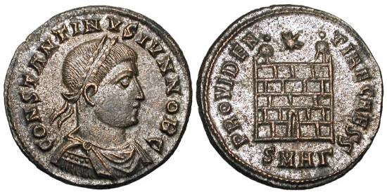 Ancient Coins - CONSTANTINE II, 337-340 AD.  Silvered Æ Follis (3.59 gm) of Heraklea, as Caesar, 324-5.  Laureate draped bust /  Camp-gate.  RIC.77.  Toned Near Mint.