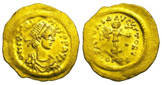 Ancient Coins - BYZANTINE EMPIRE.  Justin II, 565-578 AD.  Gold Tremissis (1.45 gm) of Constantinople.  Diademed draped bust / Victory advancing holding wreath and orb.  S.353.  Uneven Near Mint