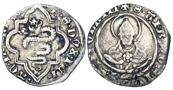 World Coins - ITALY, Milan. Francesco Sforza, 1450-1466 AD,  AR Soldo (1.37 gm).  Crowned Biscia in octafoil / Bust of Saint Ambrose facing.  Biaggi.1527.   N&V.162.   Nice aVF.
