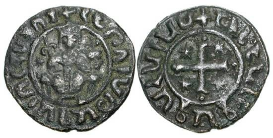 World Coins - CILICIAN ARMENIA.  Hetoum I, 1226-1270 AD.  Æ Tank (5.76 gm).  King enthroned holding sceptre and orb / Cross with crosslet and crescents.  Ner.352.  VF, brown patina,