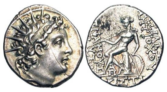 Ancient Coins - SELEUKID KINGDOM.  Antiochos VI Dionysos, 144-141 BC.  AR Drachm (4.18 gm) of Antioch.  Year 170 = 143/2 BC.  Radiate head / Apollo seated on omphalos. SNG.Isr.1766.  Toned aXF, cl