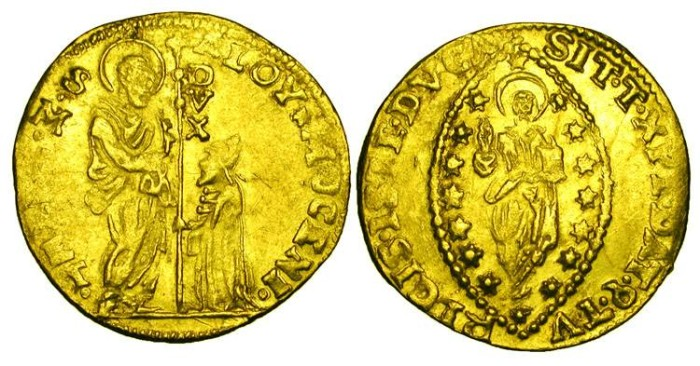 World Coins - ITALY, Venice.  Alvise Mocenigo I, 1570-1577 AD.  Gold Zecchino (3.47 gm).  Christ standing, surrounded by stars / Doge kneeling before St. Mark.  Paolucci.68.2.  VF.