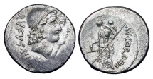 Ancient Coins - ROMAN REPUBLIC. Mn. Cordius Rufus. 46 BC. AR Denarius (4.01 gm). Jugate busts of the Dioscuri / Venus standing. Cordia.1. Cr.463/1.  Toned VF.