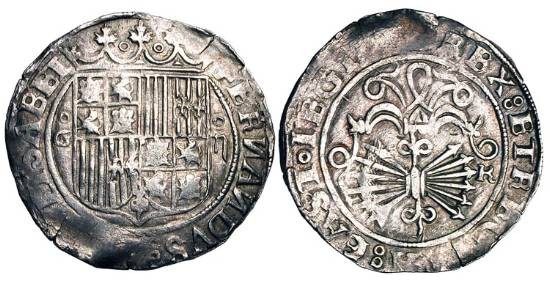 World Coins - SPAIN.  Ferdinand and Isabella, 1469-1504 AD.  AR 2 Reales (6.93 gm) of Granada.  Crowned shield of arms / Yoke with traces and sheaf of arrows.  C&C.2761ff.  Toned VF+.  Scarce