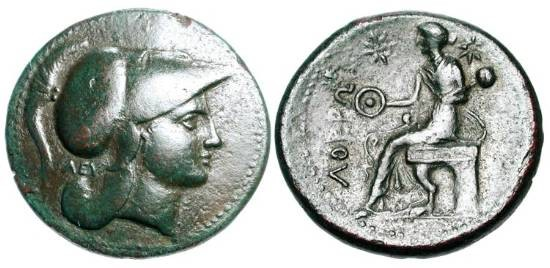 Ancient Coins - BRUTTIUM, Lokroi Epizphyroi.  300-268 BC.  Æ 27 (13.25 gm). Helmeted head of Athena / Persephone seated holding patera and poppy-headed sceptre.  SNG.ANS.570.  HN.2383.  VF,  …