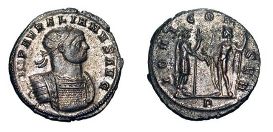 Ancient Coins - AURELIAN, 270-275 AD.  Silvered Æ Antoninianus (3.72 gm) of Rome.  Radiate cuirassed bust / Aurelian standing, receiving globe from Jupiter.  RIC.48.  Toned Near Mint.