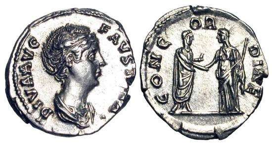 Ancient Coins - FAUSTINA SENIOR, wife of Antoninus Pius, d. 140/1 AD.  AR Denarius, posthumous commemorative.  Draped bust /  Antoninus and Faustina clasping hands.  RIC.381b(S).  Near Mint.