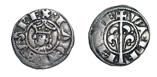 World Coins - SPAIN, Valencia.  Jaime I, 1238-1276 AD.  AR Dinero (0.82 gm). Crowned head / Tree.  Crus.316.  Toned VF.