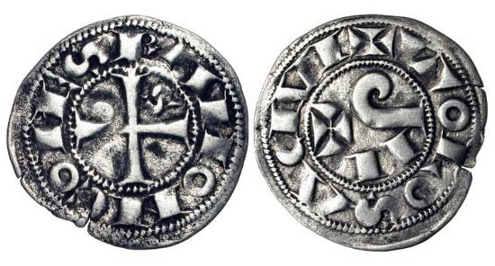World Coins - FRANCE, Toulouse.  Raymond V-VII, 1148-1249 AD.  AR Denier (0.92 gm).  Cross with S in first angle / Degraded PAX.  Rob.4226.  D.1228.  VF+