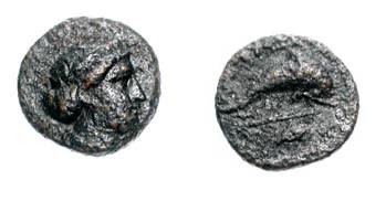 Ancient Coins - CARIAN ISLANDS, NISYROS.  350-300 BC.  Æ 12 (1.26 gm).  Diademed head of Artemis /Dolphin swimming, trident below.  SNGCop.707v.  aVF, dark brown patina.  Rare.