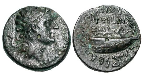 Ancient Coins - SELEUKID KINGDOM.  Antiochos IV Epiphanes, 175-164 BC.  Æ 21 (6.90 gm) of Tyre, yr. SE 147.  Laureate head / Stern of galley.  SNG.Isr.1089.  VF, green brown patina.