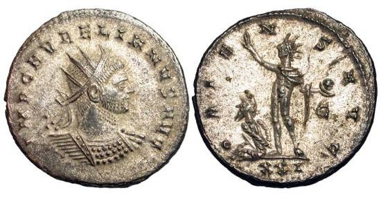 Ancient Coins - AURELIAN, 270-275 AD.  Æ Silvered Antoninianus of Cyzicus.  Radiate and cuirassed bust / Sol standing holding globe, Parthian captive at feet.  RIC.360.  Toned XF, full silvering.
