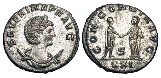 Ancient Coins - SEVERINA, wife of Aurelian, 270-275 AD.  Silvered Æ Antoninianus of Antioch.  Diademed bust on crescent / Emperor and empress clasping hands.  RIC.19.   Near Mint, full silvering.