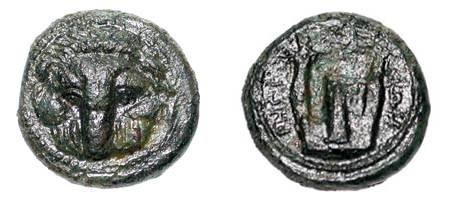 Ancient Coins - BRUTTIUM, Rhegion.  351-280 BC. Æ 17 (3.24 gm).  Lion's scalp mask facing / Lyre.  HN.2532.  VF+, green patina.