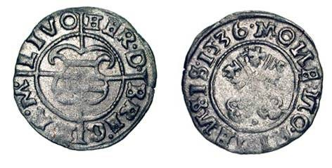 World Coins - RIGA, Livonia Order.  Herman Brugnecy, 1535-1549 AD.  AR Schilling (1.01 gm), 1536.  Arms / Crossed keys.   Neu.246.  Uneven VF+.