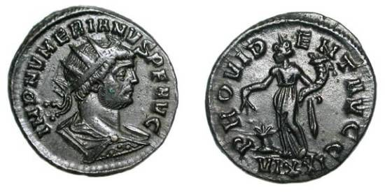 Ancient Coins - NUMERIAN, 283-284 AD.   Æ Antoninianus of Ticinum.  Radiate and draped bust / Providentia standing holding baton and cornucopiae, modius at feet.  RIC.446.  aXF.  Scarce.