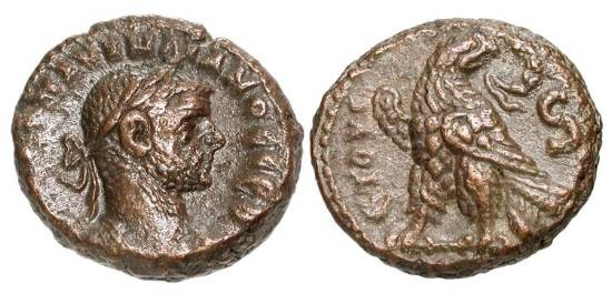 Ancient Coins - ROMAN EGYPT.  Aurelian, 270-275 AD.  Billon Tetradrachm (7.82 gm), yr. 6.  Laureate cuirassed bust /  Eagle standing holding wreath.  Köln.3096.  VF+, brown patina