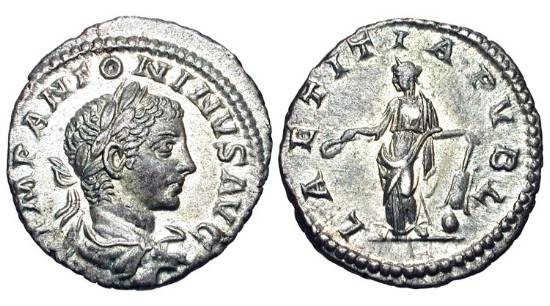 Ancient Coins - ELAGABALUS, 218-222 AD.  AR Denarius (3.38 gm).  Laureate draped bust / Laetitia standing with lwreath and rudder. RIC.95.  Toned Near Mint