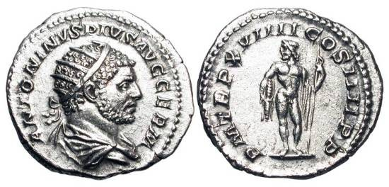 Ancient Coins - CARACALLA, 198-217 AD.  AR Antoninianus (4.90 gm), 216.  Radiate draped cuirassed bust / Jupiter standing holding thunderbolt and sceptre.  RIC.275e.  Toned XF.