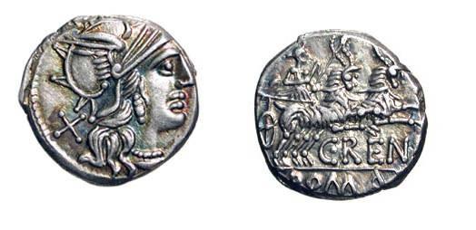Ancient Coins - ROMAN REPUBLIC.  C. Renius, 138 BC.  AR Denarius (2.90 gm).  Helmeted head of Roma / Juno in biga of goats.  Renia.1. Cr.231/1.  Nicely toned XF+.