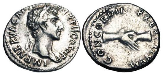 Ancient Coins - NERVA, 96-98 AD. AR Denarius (3.19 gm)of Rome, 97AD. Laureate head / Clasped hands.  RSC.22.  RIC.26.  Toned aXF.
