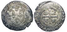 World Coins - FRANCE.  Francois I, 1515-1547 AD.  AR Grand Blanc à la couronne, Toulouse (pt 5).  Crowned shield of arms in trilobe /  Cross with crowns and lis in quadrilobe.  DuP.835b.  …