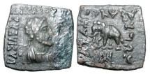 Ancient Coins - BAKTRIA.  Heliokles II, 110-100 BC.  Square Æ21 Hemi-obol.