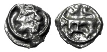Ancient Coins - CELTIC GAUL, Turones.  I Century BC.  Potin Reduced Unit.  Rare.