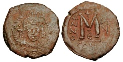 Ancient Coins - BYZANTINE EMPIRE.  Maurice Tiberius, 582-602 AD.  Æ Follis